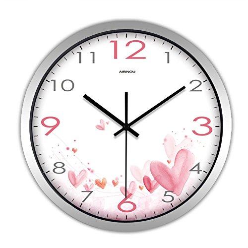 H&M Reloj de pared moderno de la sala de estar de moda de la personalidad creativa moderna Reloj de pared del reloj de cuarzo simple del amor de rosa , silver , 12 inches