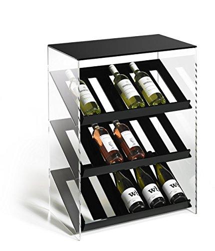 HOWE-Deko Hochwertiges Acryl-Glas Designer Weinregal Flaschenregal Weinschrank, schwarz/klar, B 60 x T 35 x H 80 cm, Acryl-Stärke 8 mm