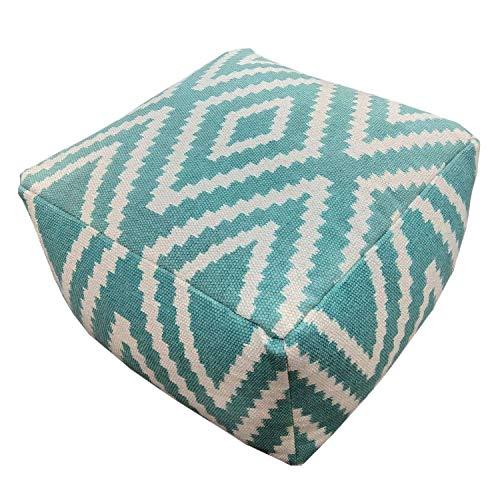 casamia Sitzwürfel Fußhocker Sitzhocker 55x37x55 cm Pouf Kelim Bodenkissen Pouf Fußablage Peru schwarz grau gelb türkis Farbe Mint