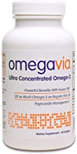 OmegaVia Ultra Concentrated Omega-3 Fish Oil. High Potency - 1105 mg Omega 3 per Pill. 3X More Omegas Than Regular Fish Oil. High EPA Formula with DHA and DPA. IFOS Certified. 60 Capsules.