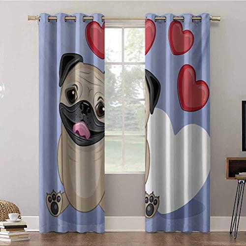 Cortinas Aishare Store, 42 x 63 paneles de cortina para ventana, feliz perro lamiendo sus labios con tres rojos y uno grande W, cortinas opacas aislantes para dormitorio (2 paneles)