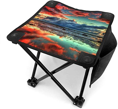 Tabouret de camping 3D Trippy Nature Scenery Small Camping Stool Fishing Travel Outdoor Folding Stool Portable Oxford Cloth Slacker Stool with Side Pocket for Camping Walking Hunting Hiking Picnic Ga