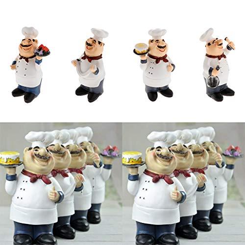 SM SunniMix 4pcs Statue de Chef Objets de Décoration Embellissement pour Maison, Cuisine, Bistro, Boulangerie