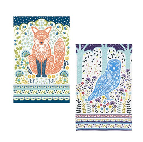 Ulster Weavers Set of 2 Woodland Animal Cotton Tea Towels - Fox and Owl