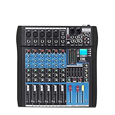 XTUGA Professional 7 Channels Audio Mixer Sound Board Console ES602 USB/MP3/Bluetooth Stage Audio Mixer Built-in Digital Effect Music Mixer USB Computer Recording +48Vpower (black)