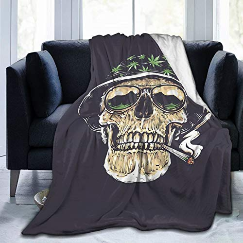 Flannel Blanket Dark Gothic Style Evil Skull Halloween Lightweight Cozy Bed Blanket Soft Throw Blanket fits Couch Sofa Suitable for All Season 60'x80' for Kids Women Men