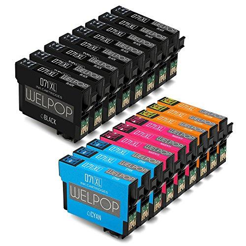 WELPOP Cartuchos de tinta para Epson SX100 SX110 SX200 SX210 SX218 SX400 DX4400 DX4450 DX5050 DX7400 DX8400 DX8450 BX600FW (Embalaje 17) 8 Negro, Azul 3, 3 Rojo, Amarillo 3
