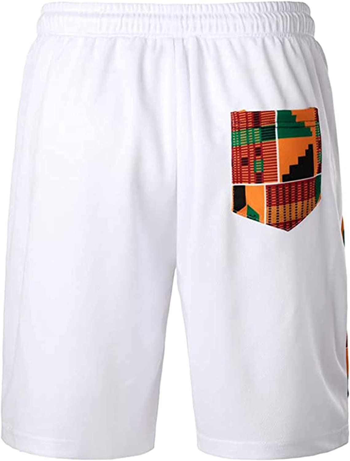 Tantisy Men Shorts Summer Casual Trousers Printing Solid Color Loose Quick-drying Shorts Beach Pants Five-point Pants