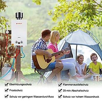 Camplux BW264C Chauffe-eau instantané à gaz 10 litres avec capuchon de pluie 50 mbar Douche à gaz instantanée pour chevaux, camping, voyage