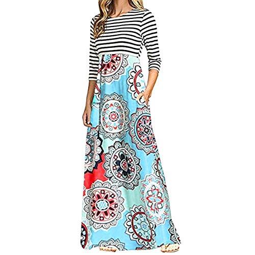 MRULIC Langarm Kleid Gestreifte Blumen Maxikleid Partykleider Strickkleid Wickelkleid(F-Hellblau,X-Large)