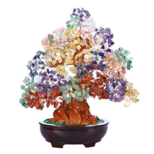 JSDDE Árbol de cristal de 9.4 pulgadas, 7 chakras, reiki, árbol de dinero con cristales de Feng Shui, árbol de piedra, decoración de la suerte