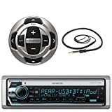 Kenwood Single DIN Marine Boat Yacht USB CD Player Bluetooth Stereo Receiver, Kenwood Wired Remote, 22' Enrock AM/FM Antenna