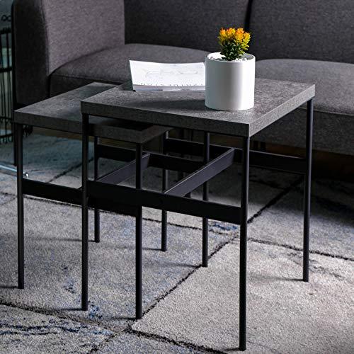 ALAMHI Mesa Auxiliar Salon Juego de 2 Mesas de Café Mesita Baja de Centro Mueble Patrón de Mármol de Imitación Europeo Pared de Tubería Engrosada (Gris)