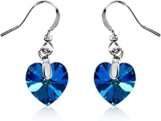 Mahi with Swarovski Crystals Blue Heart Rhodium plated 'Love for My Valentine' Earrings ER1194208RBlu