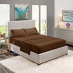 small Clara Clark Premier 1800 Series 4-Piece Bedding Set-Queen, Brown, Hypoallergenic, Deep Pocket