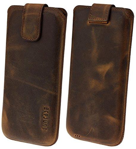 Suncase Original Etui Tasche für Sony Xperia XZ2 Premium   mit ZUSÄTZLICHER Hülle/Schale / Bumper *Lasche mit Rückzugfunktion* Handytasche Ledertasche Schutzhülle Hülle Hülle in Antik-Coffee