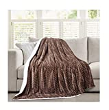 Micromink Flannel Throw Blanket, Reverses to Sherpa, Fuzzy Mink Cozy Warm Fluffy Velvety Home Fashion (60' x 80')Brown