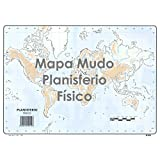 Mapa Mudo SELVI Color Din-A4 Planisferio Físico, Caja x50