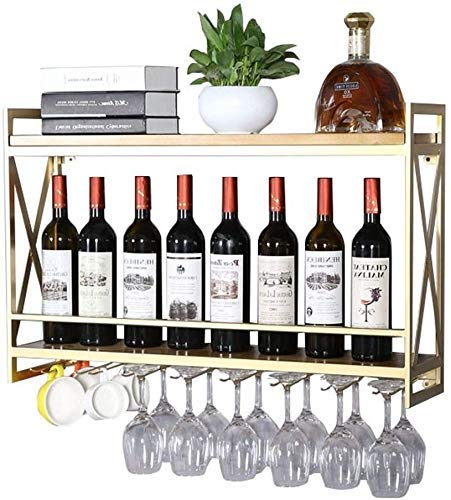FBBSZSD Soporte de Pared para botelleros de Metal |Soporte para Botella de Vino de Madera Vintage montado en la Pared |Porta Vino rústico |Estante Organizador de Almacenamiento con Esta