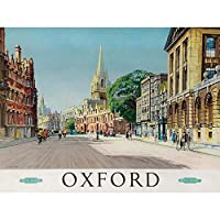 Travel Oxford England British Railways Street Cathedral Art Print Poster Wall Decor 12X16 Inch 旅行イングランドイギリス人鉄道通り大聖堂ポスター壁デコ