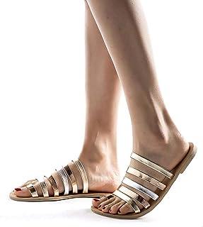 06ee39499086ce REYO Women Flat Heel Sandals Summer Flat Heel Strap Slippers Beach Sandals  Roman Fashion Walking Shoes
