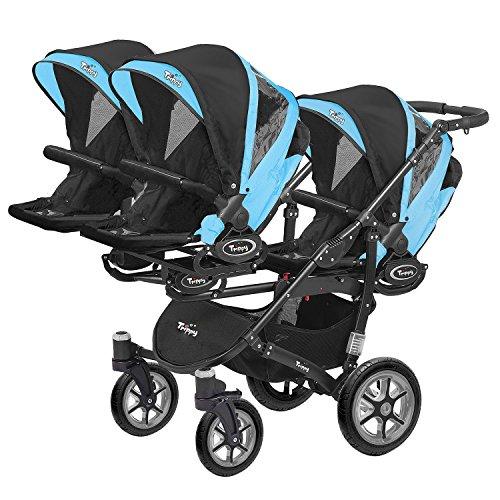 Kinderwagen für Drillinge Säugling und ältere Zwillinge 1 Gondel 3 Sportsitze Trippy Kinderwagen 2in1 schwarzer Rahmen (blau 01)