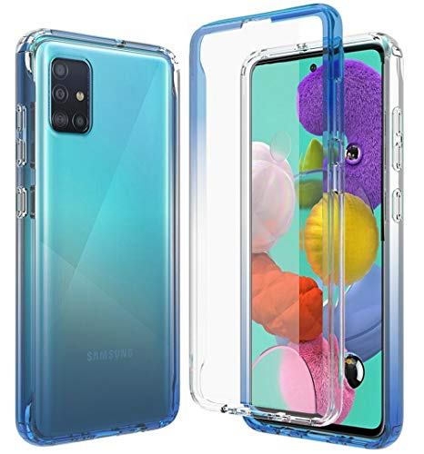 iRunzo 2 in 1 Cover for Samsung Galaxy A51 Case (4G) Soft TPU + PC Bumper Transparent Color-Changing 360° Full Body Protect (Blue)