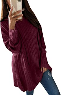 maweisong 女性ロングスリーブディープVネック巾着スウェットシャツフーディトップブラウス