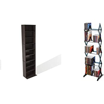 Atlantic Summit Adjustable Media Cabinet - Holds 261CD, 114DV, 132 Blu-Ray/Games PN74735727 in Espresso & Mitsu 5-Tier Media Rack - 130 CD or 90 DVD/BluRay/Games in Clear Smoke Finish, PN64835195
