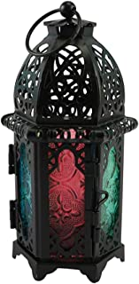 Mobestech Metal Glass Candle Lantern Moroccan Style Portable Candle Holder Pavilion Shape Decorative Hanging Lamp Wind Lan...