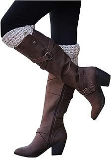 Womens Winter Knee High Boots Riding Chunky Mid Heel Cross Strap Fall Dress Boots