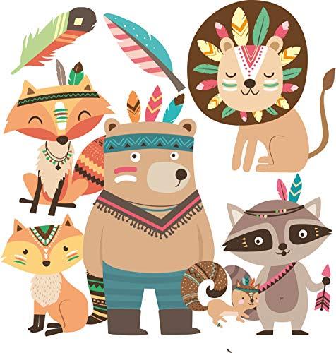 Wandtattoo Kinderzimmer Tiere Fuchs Bär Indianer Deko Babyzimmer Kinder Baby Mädchen Jungen Öko Wandaufkleber Waldtiere (Fuchs & Freunde hell)