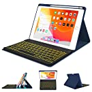 """iPad Case Keyboard 8th 7th Generation for iPad 10.2 2020/2019 - Pro 10.5 Air 3rd Gen 2019/2017-7 Color Backlit Wireless Detachable BT Keyboard - Built-in Pencil Holder Cover for 10.2""""/10.5"""" iPad"""
