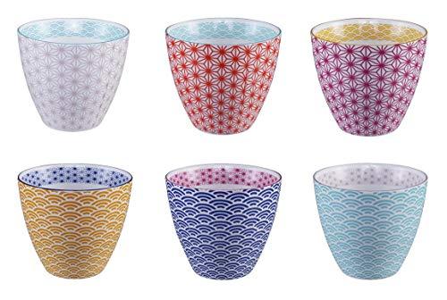 TOKYO design studio, Star Wave, 6er Tassen-Set ohne Henkel, Bunt, Ø 9.8 cm, 8.5cm, 350 ml, Porzellan