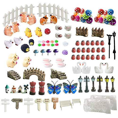 Kit de adornos de hadas miniatura, accesorios de jardín, 112 piezas para decoración de hadas para jardín