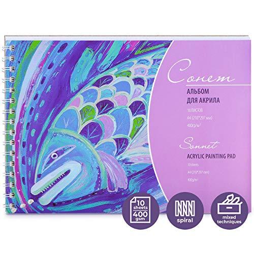Sonnet - Acryl Malblock DIN A4 | 10 Seiten weißes säurefreies Papier (400g/246lb) | Für weiche Pastelltöne, Aquarell, Bleistifte, Zeichenkohle, Gouache, Tempera und vieles mehr