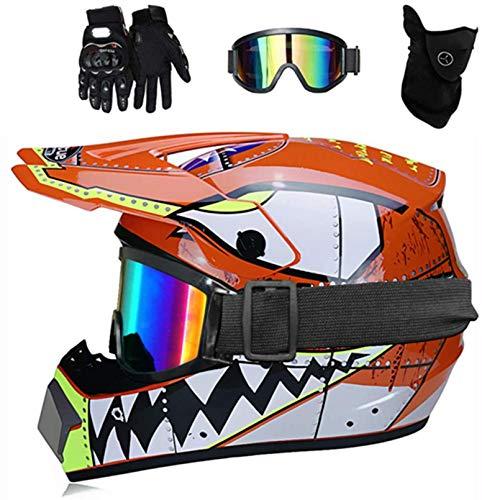 YXLM Casco de motocross MX para niños, casco de moto ATV, casco D.O.T, certificado, casco de tiburón, multicolor con guantes, casco de motocross infantil, casco integral (naranja, S)