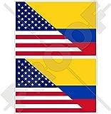 USA Vereinigte Staaten von Amerika und KOLUMBIEN, Amerikanisch und Kolumbianische Flagge, Fahne 100mm Auto & Motorrad Aufkleber, x2 Vinyl Stickers