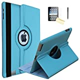 JYtrend iPad 9.7 2018/2017 Case, (R) Rotating Stand Smart Case Magnetic Auto Wake Up/Sleep Cover for A1893 A1954 A1822 A1823 MP2G2LL/A MP2J2LL/A MPGT2LL/A MPGW2LL/A MR7D2LL/A MRM52LL/A (Light Blue)