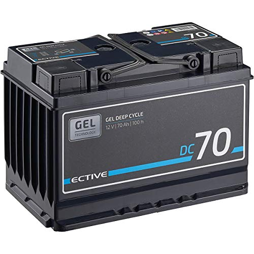 ECTIVE 70Ah 12V Gel Versorgungsbatterie DC 70 Gel Deep Cycle Solar-Batterie VRLA Zyklenfest in 2 Varianten (wartungsfrei)