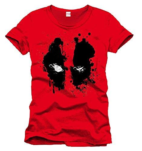 Marvel- Deadpool Splash Head Camiseta, Color (Rouge), Small (Talla del Fabricante: S) (MEPOOLXTS007-Rouge)