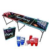 Original Cup - Set de Mesa de Beer Pong, 1 x Mesa de Beer Pong con Luces LED + 120 x Vasos (60 Rojos y 60 Azules) + 6 x Bolas, Dimensiones Oficiales 240 x 60 x 70 cm - Spotlight