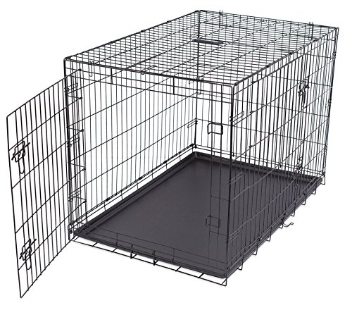 Internet's Best Double Door Steel Crates Collapsible and Foldable Wire Dog Kennel, 42 Inch (Large), Blue