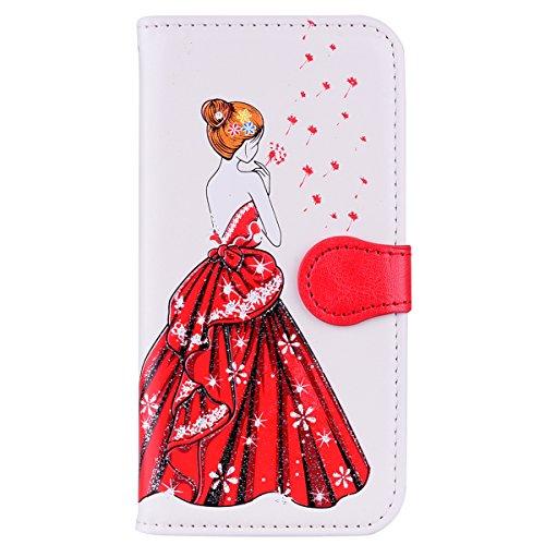 CXTcase PU lederen portemonnee Flip Case Cover met Kickstand Kaarthouder Card Slots Glitter Jurk Meisje Bloemenreliëf voor Samsung Galaxy, Samsung Galaxy S5/S5 Neo, Kleur: wit