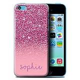 Stuff4 Personnalisé Coque pour Apple iPhone 5C Effet Paillettes Coutume Rose Désign Transparent...