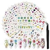 42 Fogli Adesivi per Nail Art Unghie, FunPa Adesivi Unghie Decalcomania Fai da TeTrasferimento ad Acqua 3D Fiori e motivo a farfalla Piuma Misti per donne Nails Design Salon