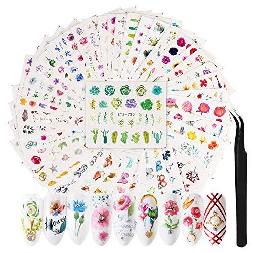FunPa Pegatinas Uñas | 3D Pegatina Decoracion para las Uñas Decal de Calcomanías Autoadhesivas Diy Etiqueta de Uñas | 42 Hojas Uñas para Diseño de Arte de Uñas