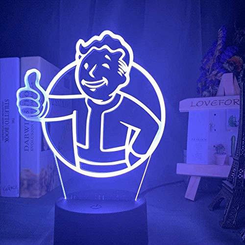 giyiohok Lámpara de ilusión 3D Juego de luz nocturna LED Logotipo de Fallout Shelter para niños habitación infantil Precio de evento fresco Lámpara de mesa USB colorida