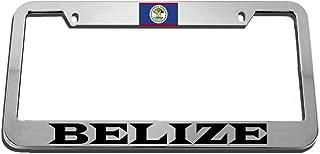 Speedy Pros Belize Zinc Metal License Plate Frame Car Auto Tag Holder - Chrome 2 Holes