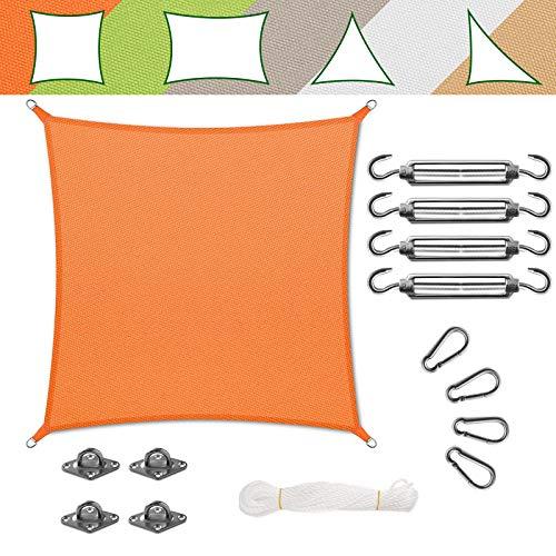 casa pura Voile d'Ombrage Carré - Toile + Kit de Fixation Inclus   Toile Ombrage Imperméable   Voile Résistante Pluie/UV en 7 Tailles   Orange - 3x3m + Accroche